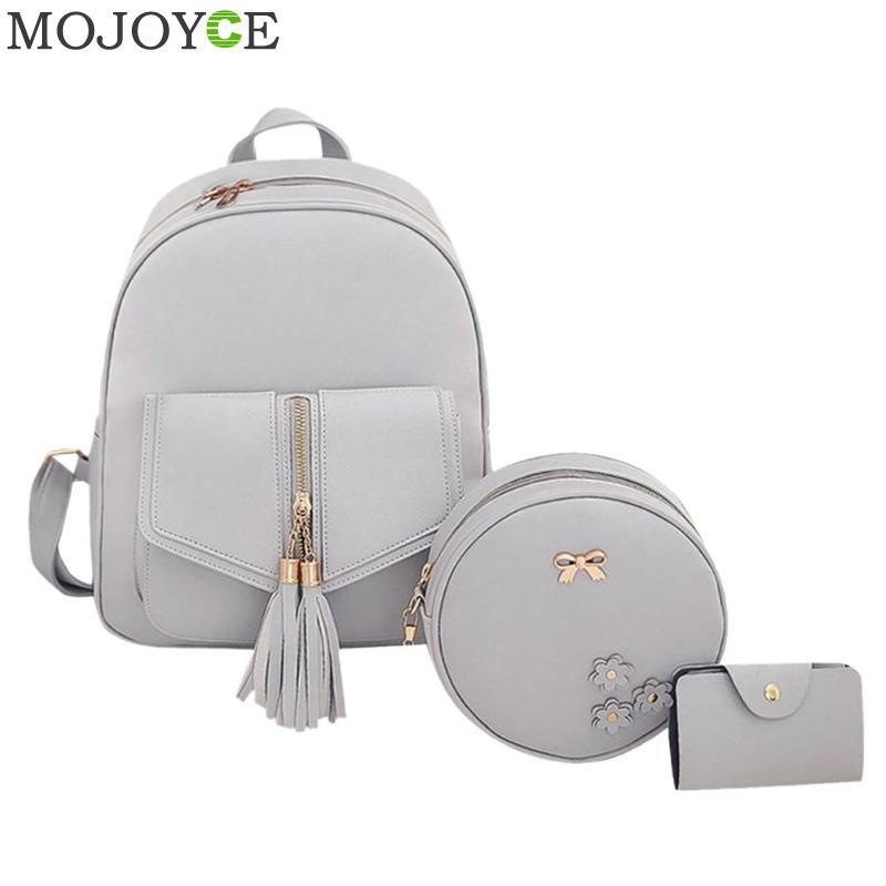 Fashion 3pcs Set Bag Women Leather Backpack Cute School Backpacks For Teenage Girls Female Tassels Shoulder Bag Purse Mochila