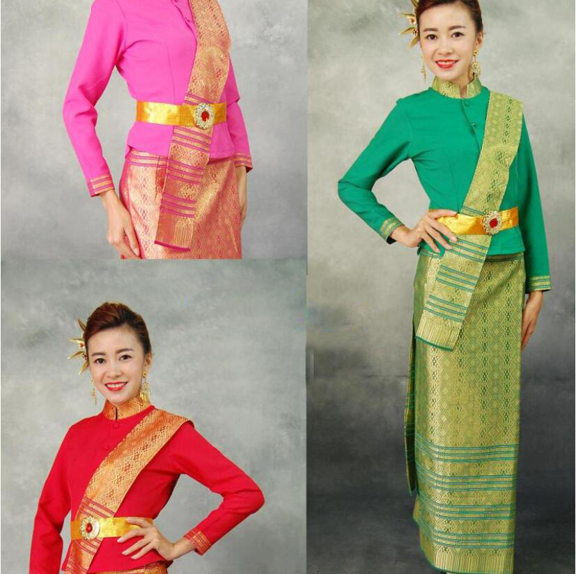 Thailand Restaurant Bar Work wear Long Sleeve Jacket + Skirt Waiter Multicolored with Shawl Belt New Style Princess Dai Clothing