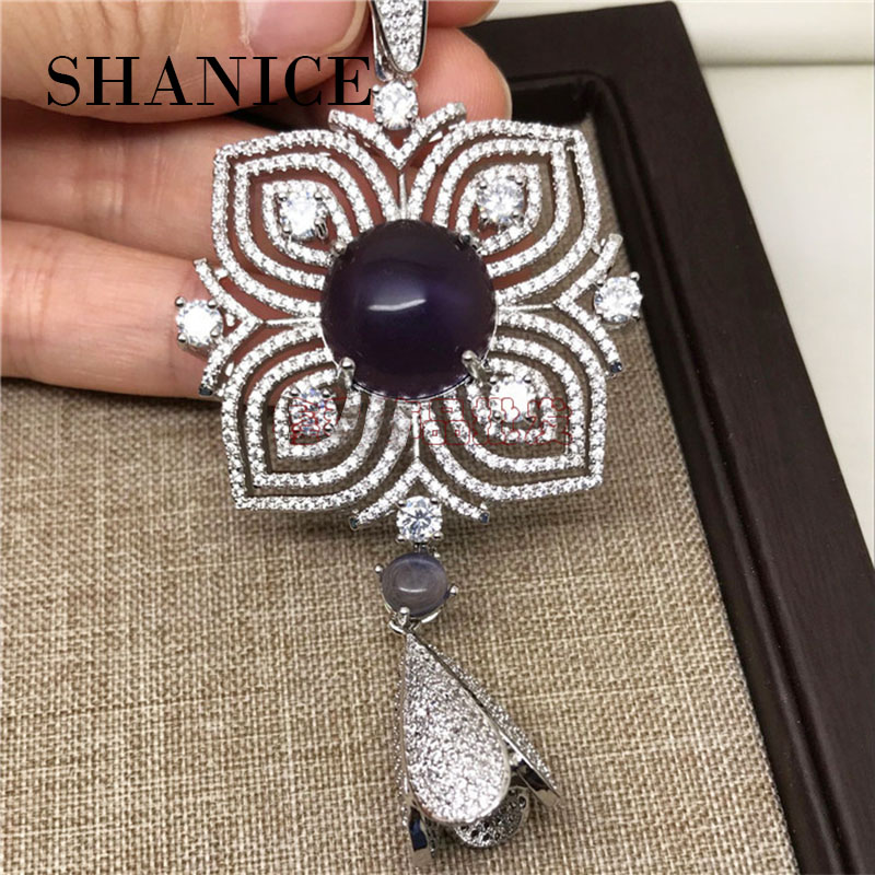 SHANICE top quality micro pave 3A zircon Flower Shape beaded tassels pendant DIY jewelry accessories For necklace making
