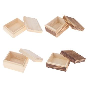 Las mujeres de madera caja de joyas baratija pendientes anillos llevar casos elegante y Simple regalo para cumpleaños Retro colector