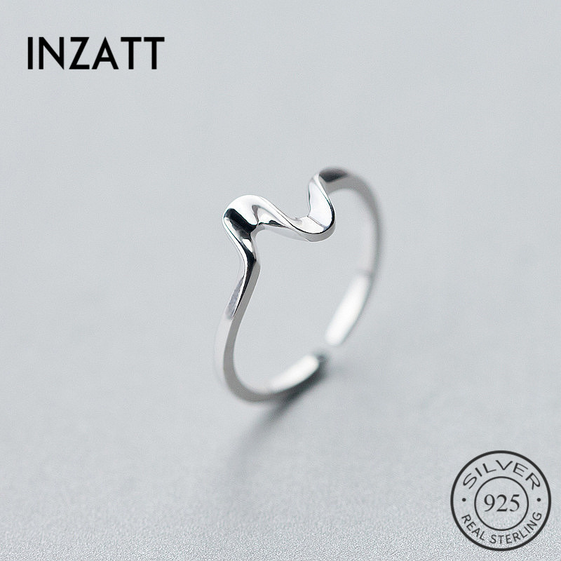 INZATT Real 925 Sterling Silver MInimalist Wave Adjustable Ring Punk Fine Jewelry For Charm Women Party Personality Accessories