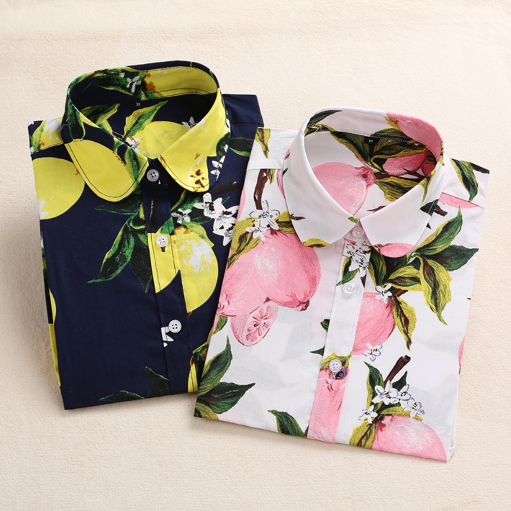 2020 Summer Cotton Women Blouses Fruit Print Shirts Long Sleeve Women Shirt Turn Down Collar Bohemia Casual Blouse Blusas 5XL