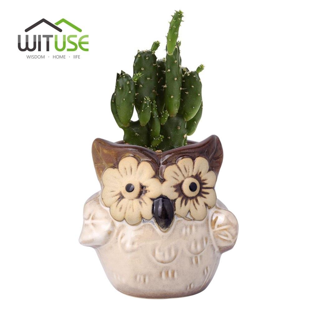 WITUSE Keramische Bloempot Mini 6 kleuren Uil Klei Tuin Pot - Tuinbenodigdheden