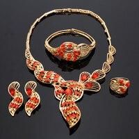 2017 Fashion Gold Plated Nigerian Wedding African Beads Jewelry Set Crystal Saudi Jewelry Sets Bracelet Earring