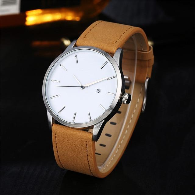 Relogio Masculino 2019 Fashion Military Sport Wristwatch Men Watch Leather Quartz Men's Watch Complete Calendar Watches Clock 5