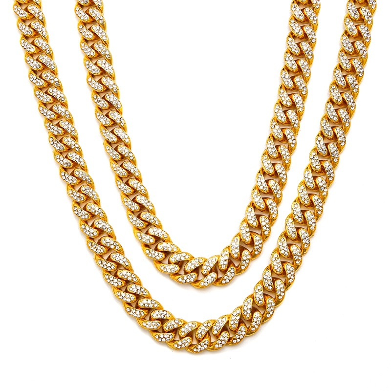 Hip Hop Full Rhinestones Iced Out Miami Curb Cuban Chain Necklace 50 75cm Length Gold Paved CZ Bling Necklaces For Men Jewelry in Chain Necklaces from Jewelry Accessories