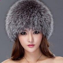 Nuevo invierno de las mujeres caliente Piel auténtica sombrero Fox Pieles  de animales sombrero hecho punto 154116bfac7