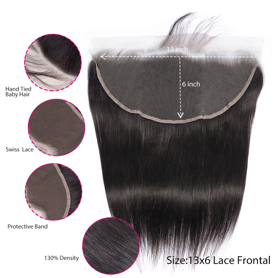 Image 2 - BY 13x6 Bundles With Frontal Straight Hair Bundles With Closure Peruvian Human Hair Bundles Remy Hair Extensiaon  Natural Colo-in 3/4 Bundles with Closure from Hair Extensions & Wigs