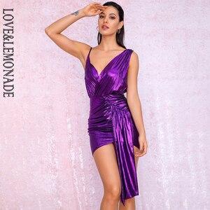Image 2 - فستان للحفلات عاكس للحفلات من LOVE & LEMONADE ذو رقبة على شكل v باللون الأرجواني المزين بطيات ومزين بشريط مناسب للجسم طراز LM81846