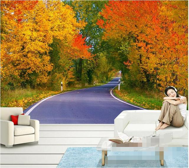 3d ruang wallpaper kustom non woven wall sticker 3d a maple jalan