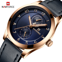 NAVIFORCE Mens Watches Top Brand Luxury Quartz Blue Watch Men Leather Business Clock Casual Waterproof Military Sport Wristwatch