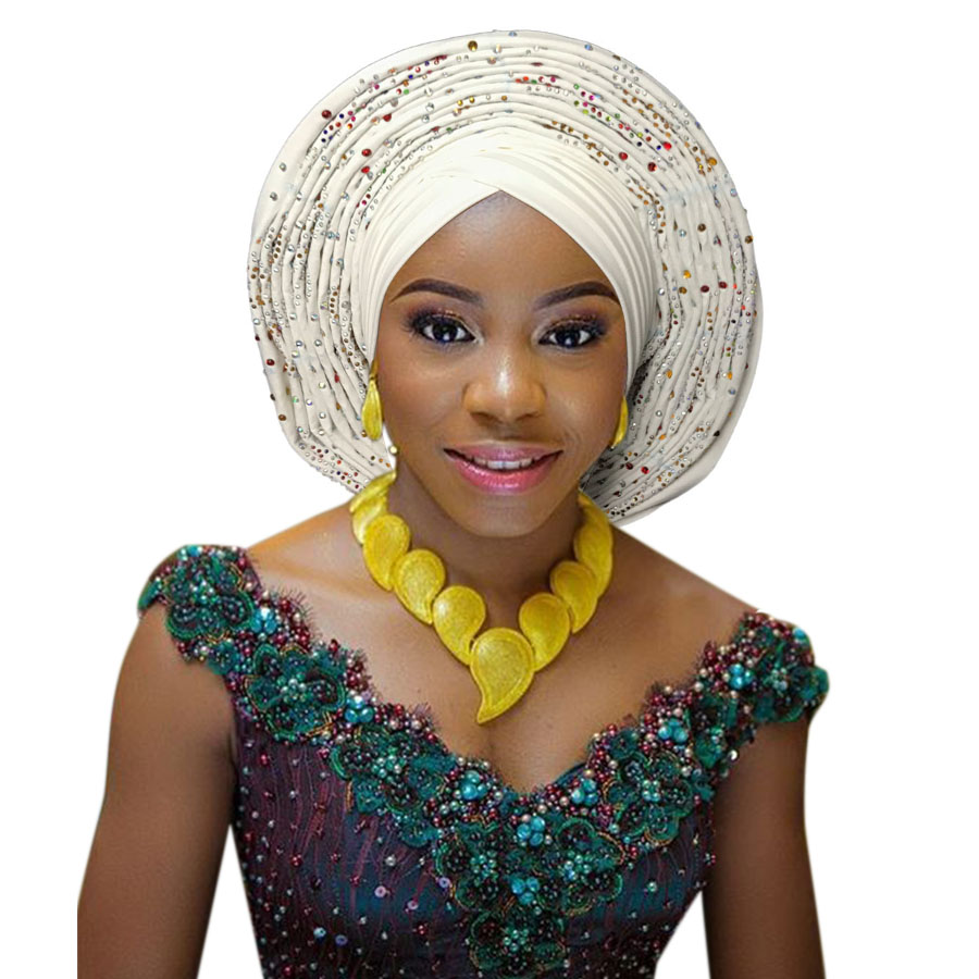 2018 New african aso oke cotton headtie nigerian gele headtie already made auto hele turban cap aso ebi big brim gele (9)