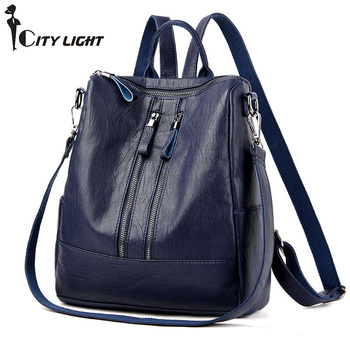 Backpack Female PU Leather Women Backpacks School Bag  Stripe Multifunctional Travel Bag Back pack on Shoulder