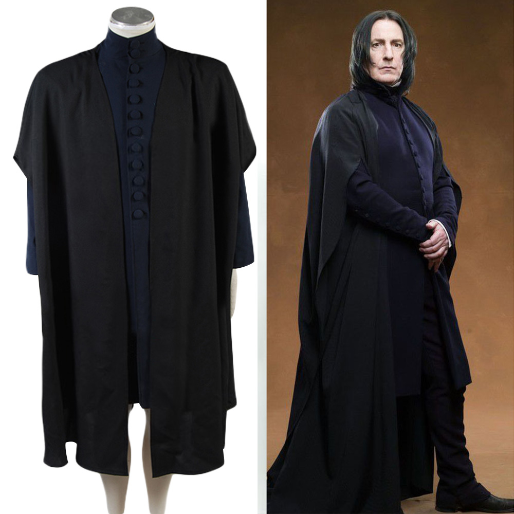 Deathly Hallows Professor Severus Snape Costume Magical wizard Hogwarts Cosplay Costume Coat+Cape Halloween Carnival