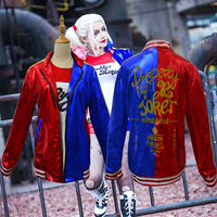 New 2016 Batman Suicide Squad Harley Quinn Cosplay Costumes Women Embroidery Jacket Femme Coats Chamarras De