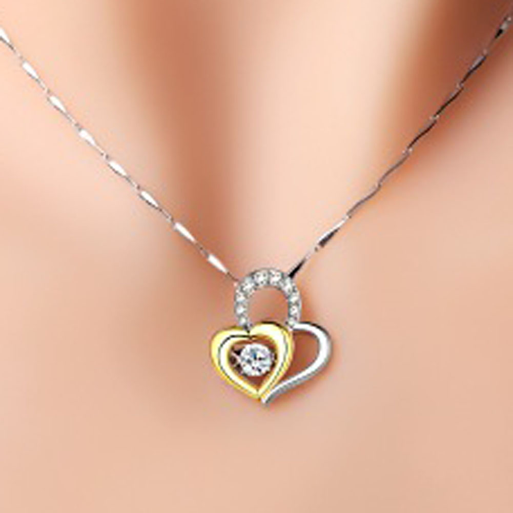 20017 Doulbe Heart Match Pendant Sweet short Necklace Fashion DesignNecklace for Lover locket