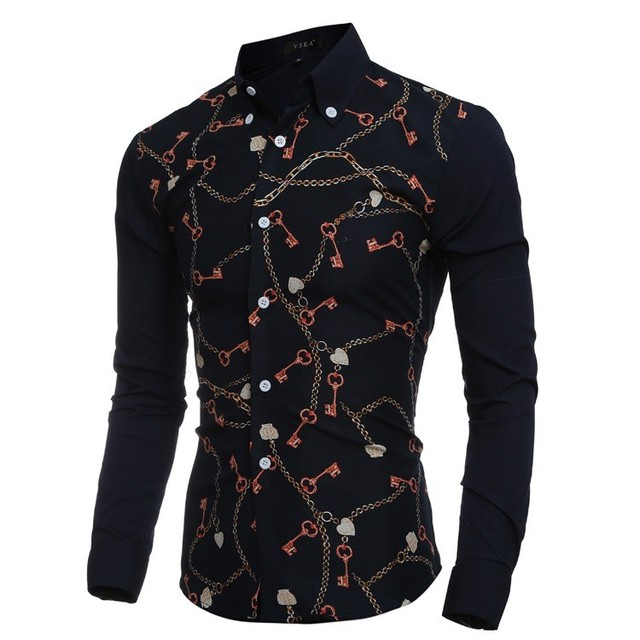 Camisas 2016 New Cotton Full Autumn Men Shirt England Style Personalized Chain Key Printed Shirts For Navy Casual Slim Hot Sale