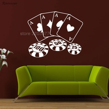 5d1aa89e942d3 Modern Dekorasyon Tasarım Poker Cips Kartları Desen Duvar Çıkartması Oyunu  Casino Vinil Sticker Art Decor Mural
