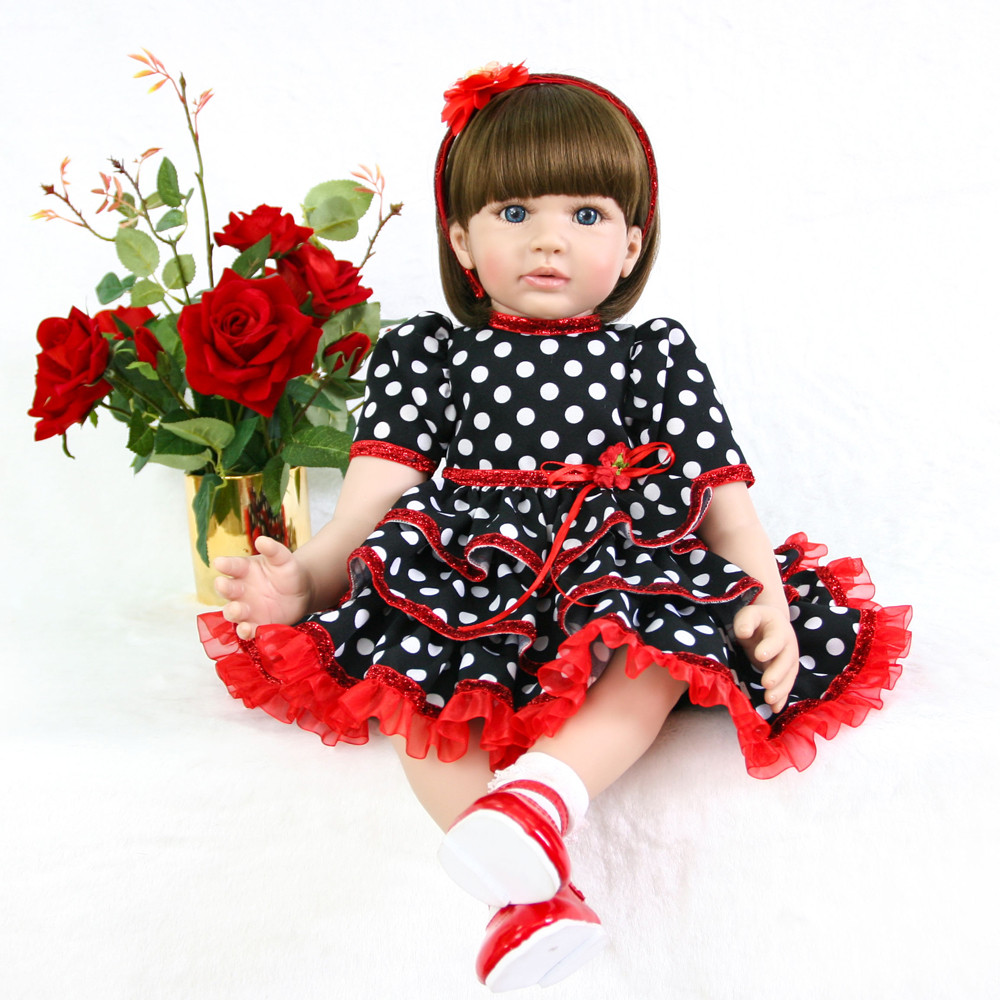 61cm Large Size Silicone Reborn Dolls With Black Dot Dress Fashiontoys Touch True Baby Newborn Babies Doll Toys For Girls Gifts