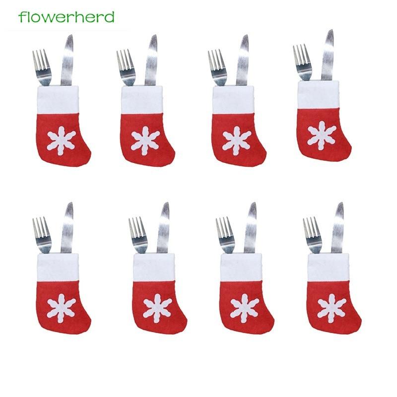 10PCS Christmas Table Decorations Christmas Tableware Sets Snowflakes Small Socks Knife Fork Bag New Year Dining Table Decor