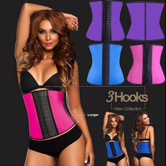 Huesos de acero 2016 de las mujeres de moda venta caliente de látex cintura cincher de la talladora bustier corsé Bustiers y Corsés Rosa Púrpura Negro Azul