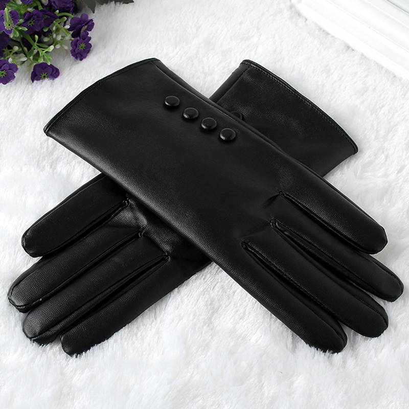 High Quality Leather Female Fashion Winter Plus Coral Velvet Warm Black Glove Women Driving Touch Phone Screen Glove Mittens B76