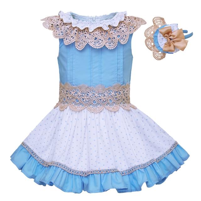7cd4da38999a Pettigirl Summer Girls Flower Dresses Kids Dress With Headband Girl Lace  Collar Boutique Kids Clothing G-DMGD101-B198