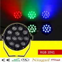 Free Shipping 3IN1 DJ Lighting 12x3W Flat LED Par RGB Disco Lamp Dmx Stage Effect Light