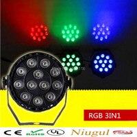 Free Shipping 3IN1 DJ Lighting 12x3W Flat LED Par RGB Disco Lamp Dmx Stage Effect Light
