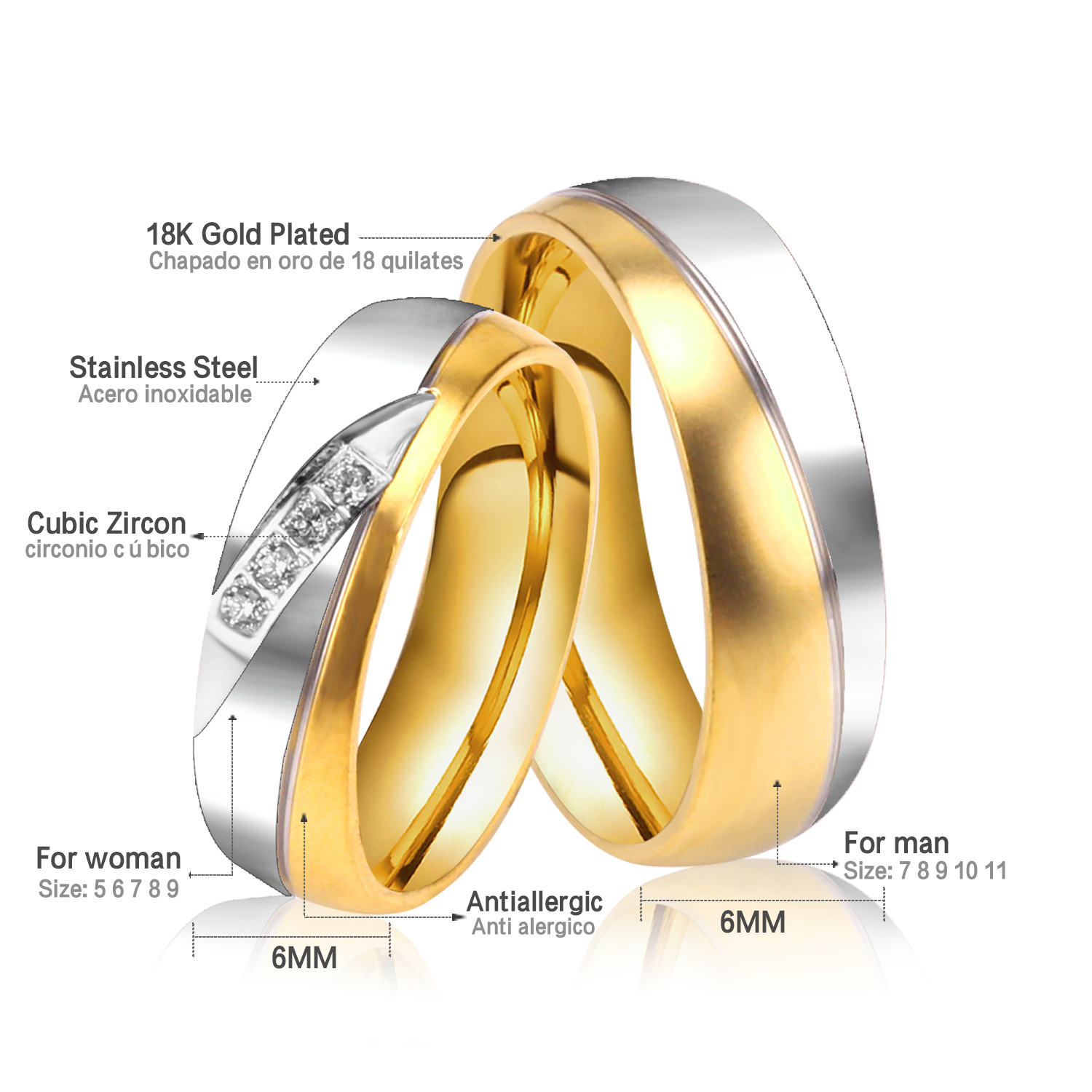 Aliexpress Buy Stainless Steel Jewelry Rings Gold Plated