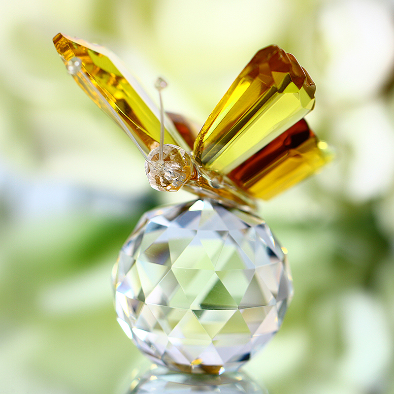 H&D Crystal repülő sárga pillangó kristálygömb alap figura - Lakberendezés - Fénykép 4