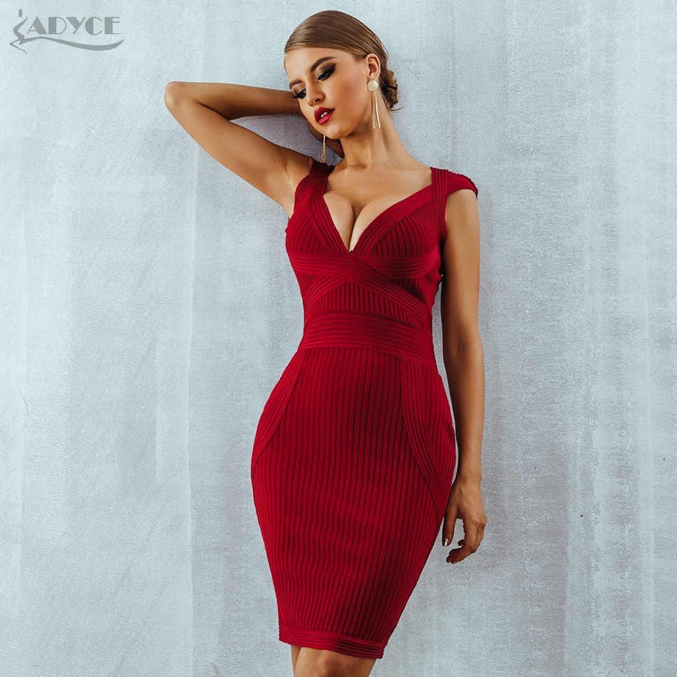 ADYCE New Women Summer Red Bodycon Bandage Dress Sexy V-Neck Short Sleeve Club Celebrity Runway Evening Party Dresses Vestidos
