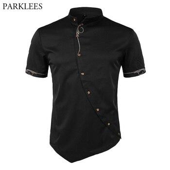 03af52e805262f9 Product Offer. Мужская рубашка с вышивкой, 2018 индивидуальность Наклонный  пуговица, нерегулярные мужские повседневные рубашки с коротким рукавом ...