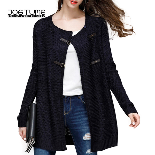 JOGTUME Autumn Winter Knitted Sweater for Women Fashion Leather Buckle Loose  Cardigans Long Sleeve Ladies Sweaters for Sale 2c376889a