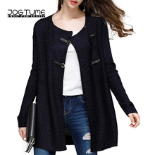 JOGTUME Autumn Winter Knitted Sweater for Women Fashion Leather Buckle Loose Cardigans Long Sleeve Ladies Sweaters for Sale