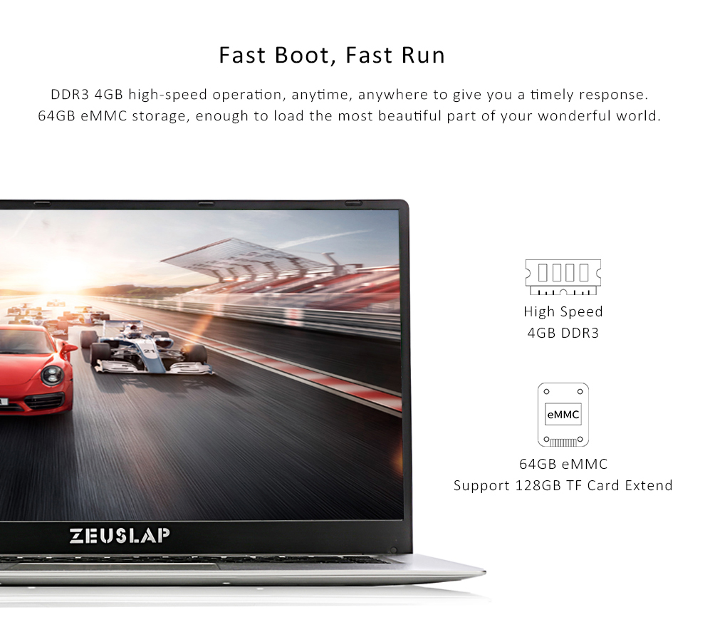 ZEUSLAP 15.6inch Intel Quad Core CPU 4GB Ram 64GB EMMC Windows 10 System 19*1080P IPS Screen Netbook Laptop Notebook Computer 4