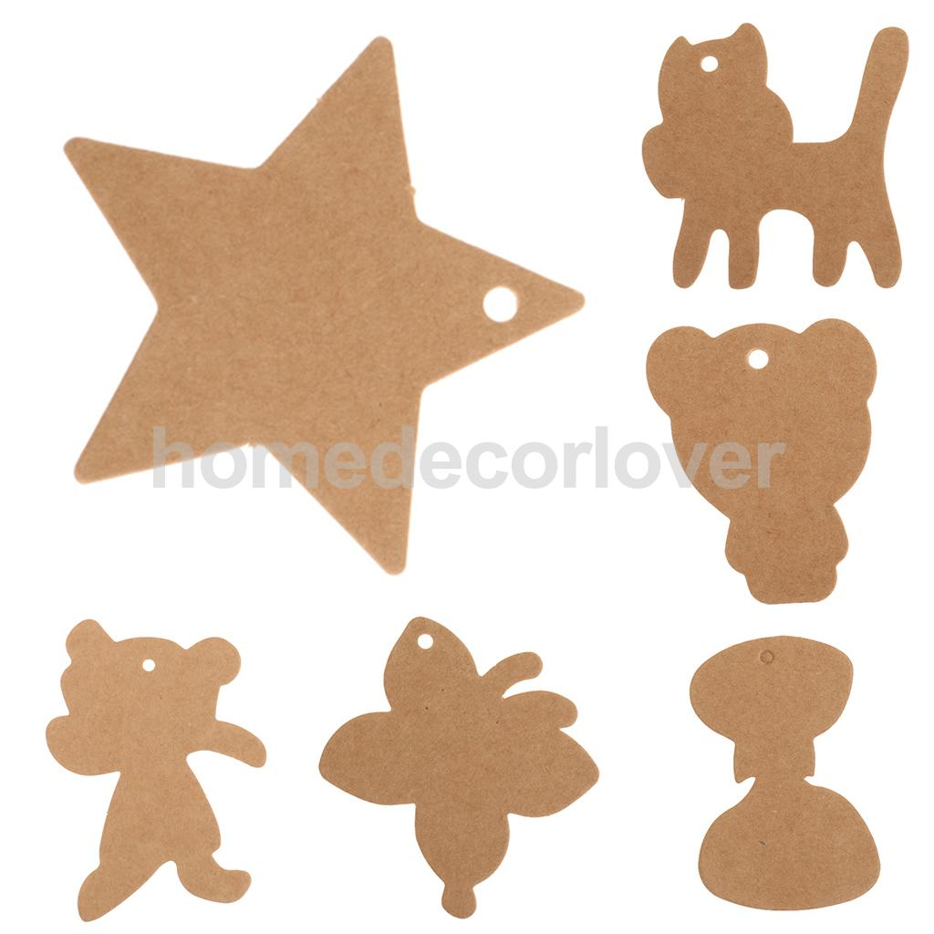 100X Brown Kraft Paper Wedding Note Tags Lace Scallop Head Label Luggage DIY Blank price Hang Tag Kraft Gift Hang tag
