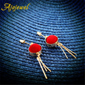 Ajojewel Trendy Fur Ball Statement Earrings Gold Plated Metal Tassel Earrings For Women Bijoux Wholesale Jewelry Cute Gift