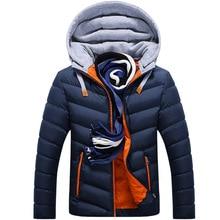Vestes dhiver Parkas pour hommes, manteaux dextérieur à capuche épais en coton, vêtements de marque pour hommes, 2020, décontracté
