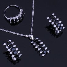 Attractive Black Cubic Zirconia White CZ 925 Sterling Silver Jewelry Sets For Women Earrings Pendant Chain Ring V0301 trendy water drop blue cubic zirconia white cz 925 sterling silver jewelry sets for women earrings pendant necklace bracelet
