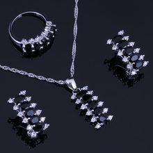 Attractive Black Cubic Zirconia White CZ 925 Sterling Silver Jewelry Sets For Women Earrings Pendant Chain Ring V0301(China)
