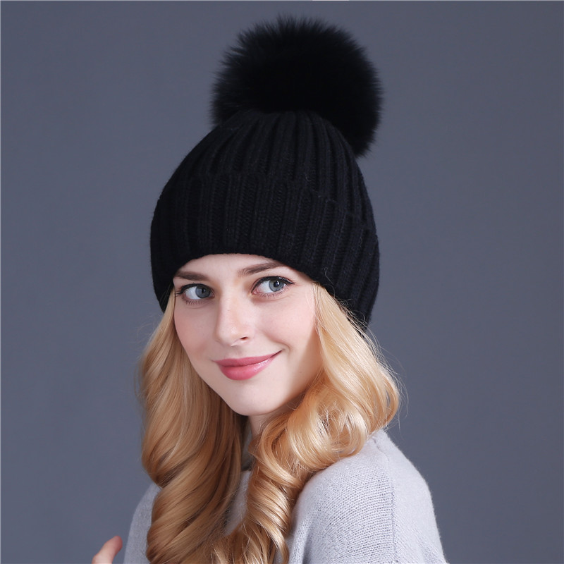 Xthree  real fox fur pom poms ball Keep warm winter hat for women girl  s  wool hat knitted beanies cap thick female cap - TakoFashion - Women s  Clothing ... 602542fc3862