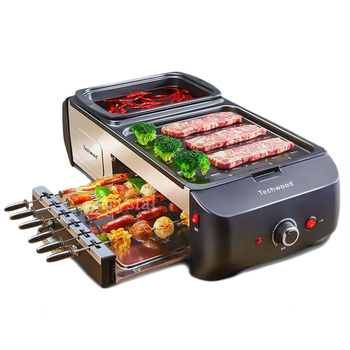 Multifunctional Electric Griddle Hot Pot & Barbecue Grill All in One Machine Household Elecitrc BBQ Furnace kebab machine household electric grill automatic rotation of barbecue grill indoor smokeless barbecue machine small kebabs