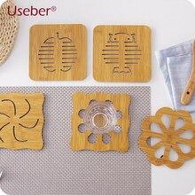 Wooden Cartoon Insulation Pad Table Cushion Antiskid Pot Mats Creative Cute Woody Cup Mat Cat/Owls/Fish/Apple/Blossom/Snow Shape