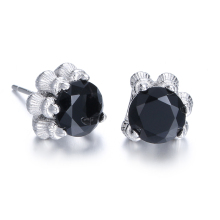 Promotion fashion bohemia black crystal dragon claw men`s earrings 925 sterling silver men stud jewelry man gift hot