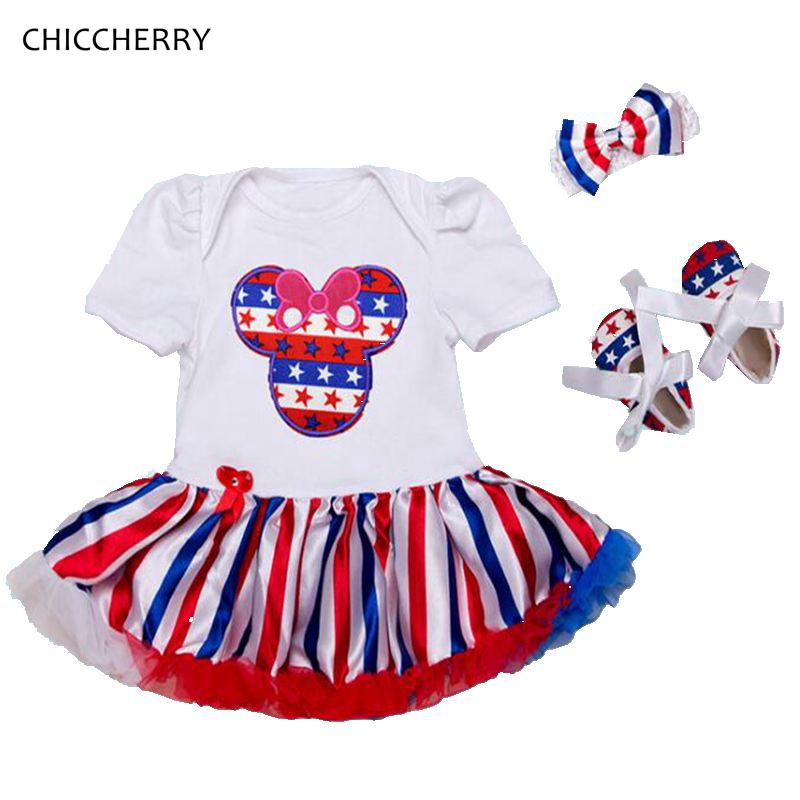 Minnie 4Th Of July Outfits Baby Girl Summer Clothes Lace Romper Dress Headband Crib Shoes Newborn Tutu Sets Infant Clothing