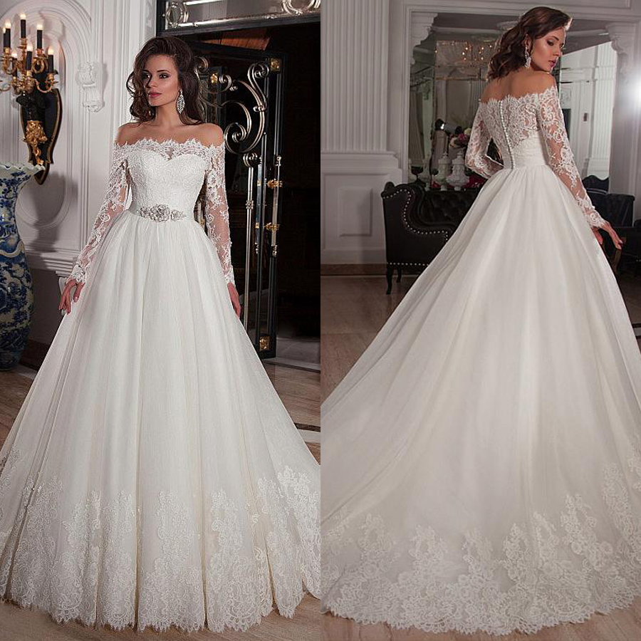 Elegant Tulle Off the Shoulder Neckline Ball Gown Wedding Dresses with Lace Appliques Rhinestones Beading Belt