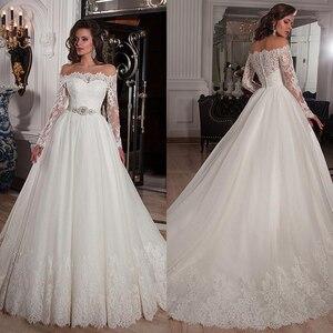 Image 1 - Elegante Tüll Off die Schulter Ausschnitt Ballkleid Brautkleider mit Spitze Appliques Strass Perlen Gürtel Brautkleider