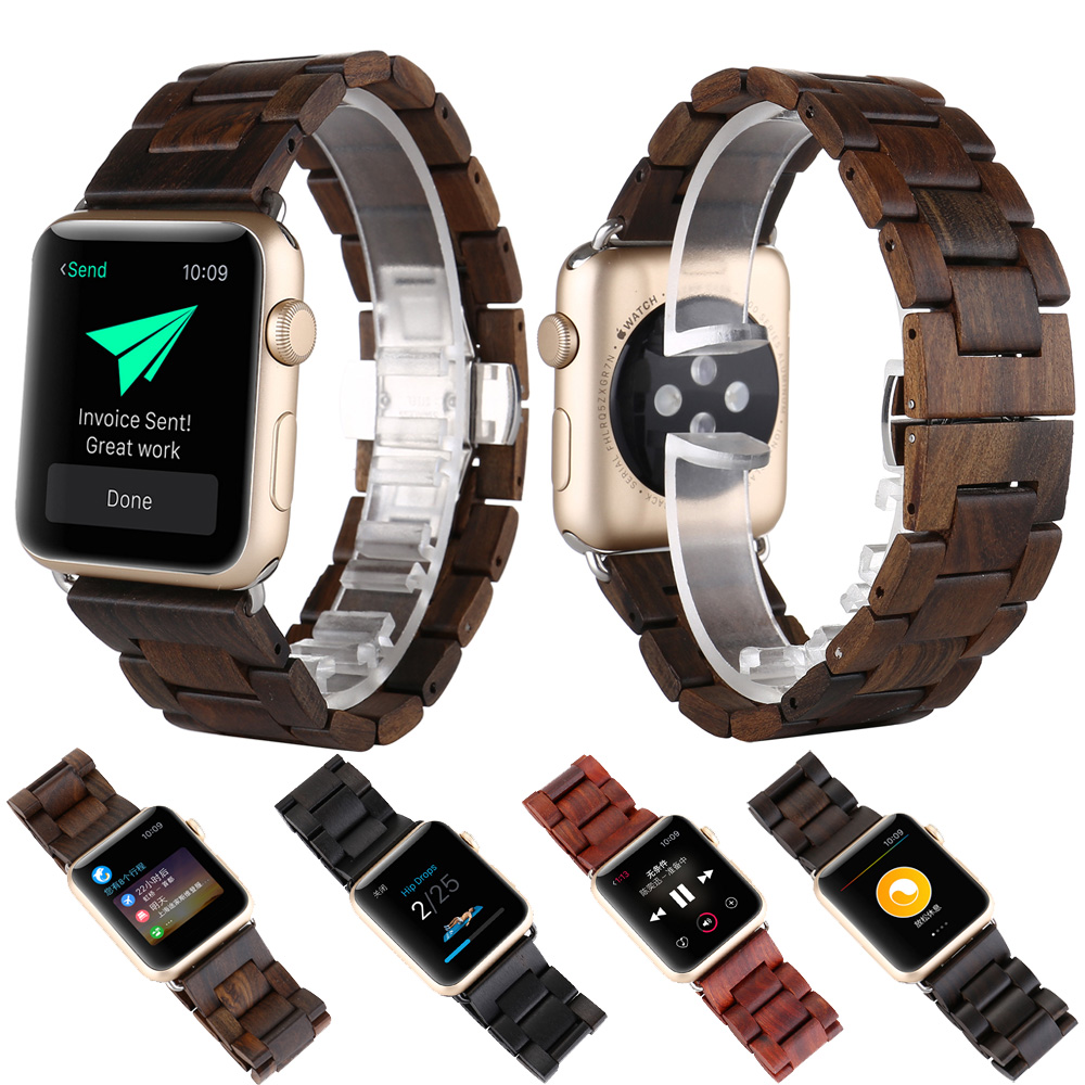 Health Sandalwood Wooden Bracelet Watch Band Strap Replacement Wrist Band with Adapter Butterfly Closure For apple