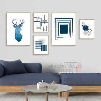 Abstract Deer Wall Art Cuadros Nordic Poster Geometric Wall Pictures For Living Room Canvas Painting Home Decor Modern Unframed